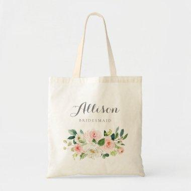 Personalized blush watercolor floral bridesmaid tote bag