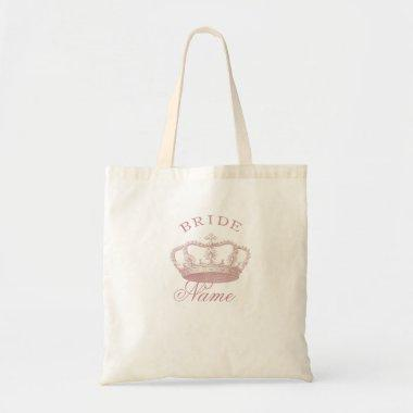Personalized Bride gift - Pink Crown Tote Bag