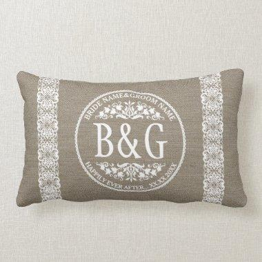 Personalized Bride&Groom Burlap&Lace Lumbar Pillow