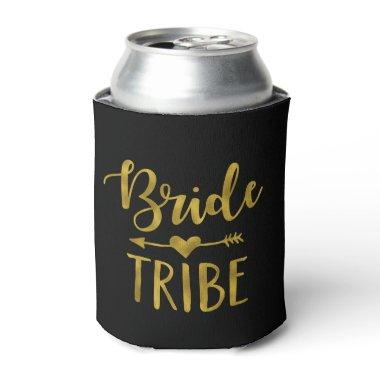 Personalized Bride Tribe Black and Gold Can Cooler