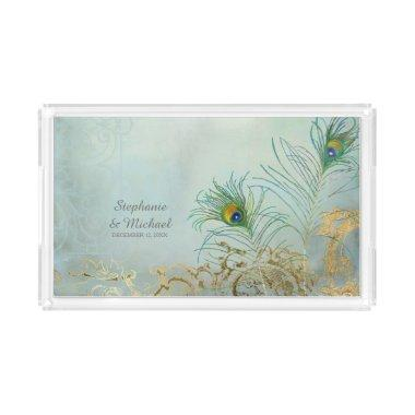 Personalized Bride Vintage Scroll Peacock Feathers Acrylic Tray