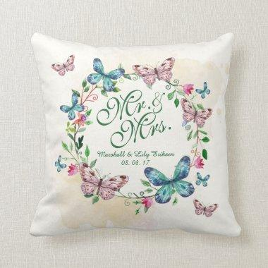 Personalized Butterfly Wreath Wedding Throw Pillow
