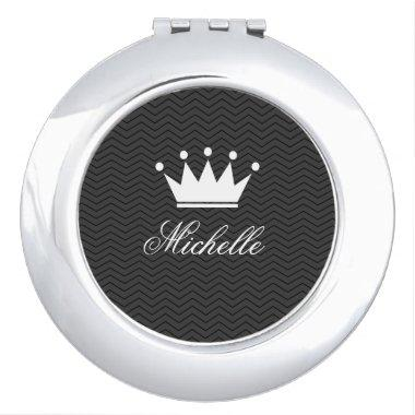 Personalized compact mirror with princess crown