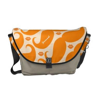 Personalized Coral Vintage Modern Mustache Lips Messenger Bag
