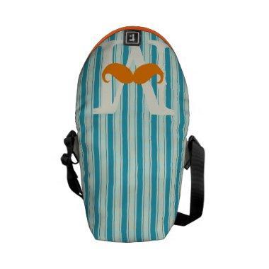 Personalized Coral Vintage Modern Mustache Messenger Bag