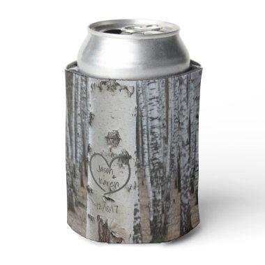 Personalized Country Rustic Carved Heart Can Cooler