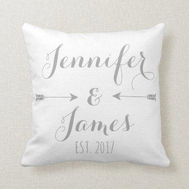 Personalized Couples Names and Arrows Throw Pillow