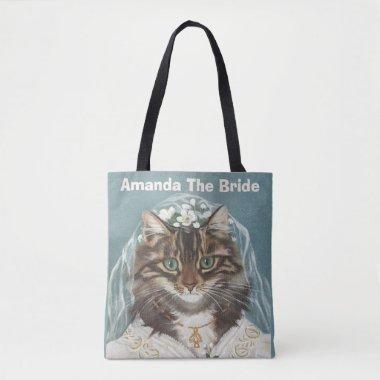 Personalized cute cat bride tote bag