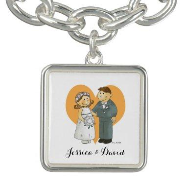 personalized cute wedding couple bride & groom charm bracelets