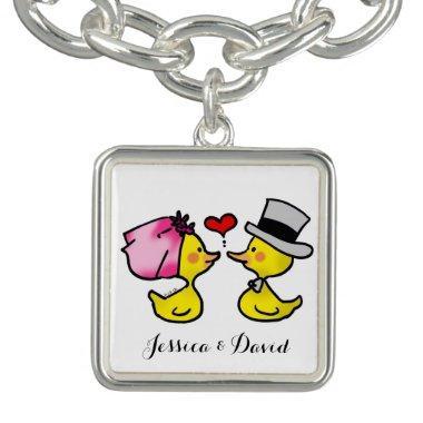 personalized cute wedding ducks couple bracelets