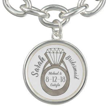 Personalized Diamond Ring Bridesmaid Wedding Party Charm Bracelets