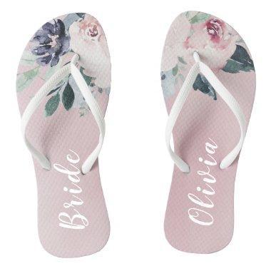 4ea5fd6a908a19 Personalized elegant blush floral bride flip flops
