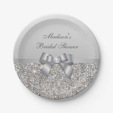 Personalized Faux Silver Sequins Bow  Paper Plate