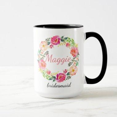 Personalized Floral Wreath Bridesmaid Mug