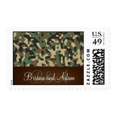 Personalized Hunting Theme Speckled Camo Wedding Postage