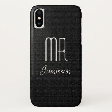 Personalized Initials MR Black HIS iPhone XS Case