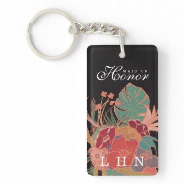 Personalized Maid of Honor Gift Keychain Floral