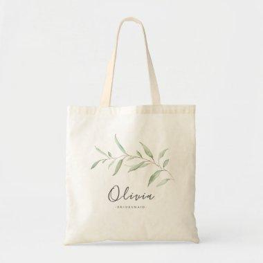 Personalized minimal greenery bridesmaid tote bag