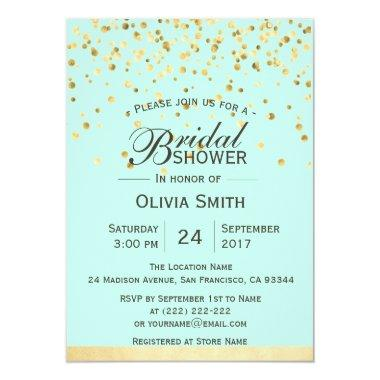 Personalized Mint Green Gold  Invites