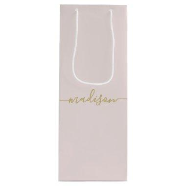 Personalized Modern Girly Gold Script Blush Pink Wine Gift Bag