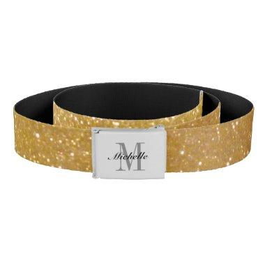 Personalized monogram faux gold glitter print girl belt