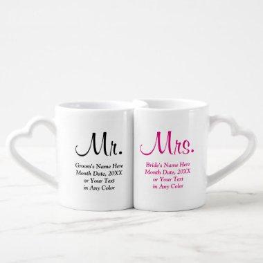 Personalized Mr. and Mrs. Wedding Gifts Coffee Mug Set