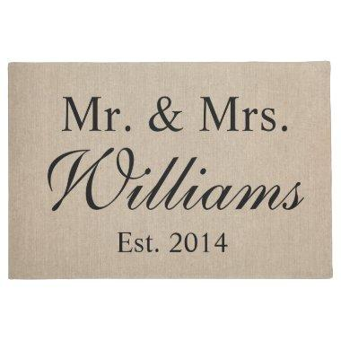 Personalized Mr. & Mrs. Wedding Doormat
