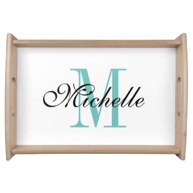 Personalized name monogram wedding serving trays