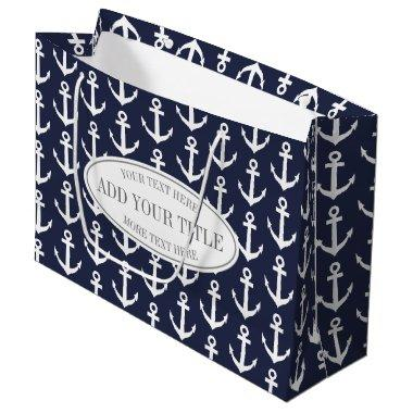 Personalized nautical anchor print large gift bags