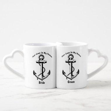 Personalized Nautical Anchor Wedding Gift Coffee Mug Set