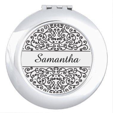 Personalized Ornate Black and White Bridesmaid Vanity Mirror