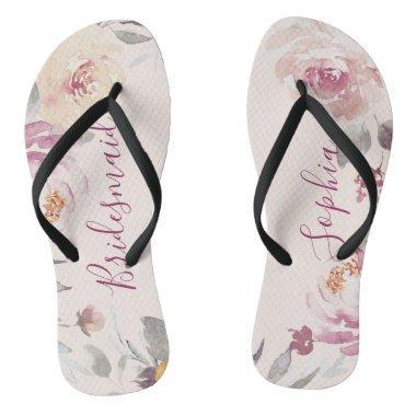 ab5bee8af Personalized pastel watercolor floral bridesmaid flip flops