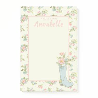 Personalized Pink and Ivory Floral Rain Boot Post-it Notes