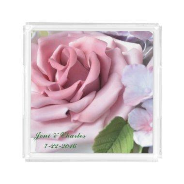 Personalized Pink Rose Acrylic Serving Tray
