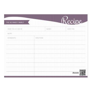 Personalized Purple & White Recipe