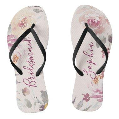 Personalized romantic garden floral bridesmaid flip flops