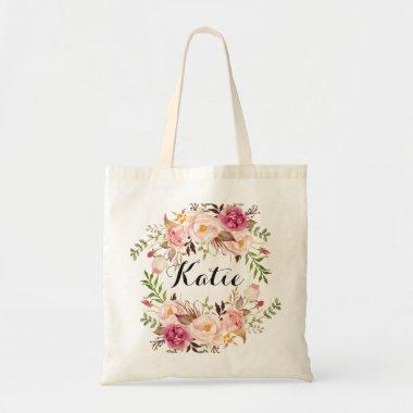 Personalized Rustic Floral Braidsmaid Tote Bag
