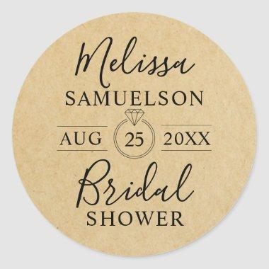 Personalized Rustic Kraft Paper Ring Bridal Shower Classic Round Sticker