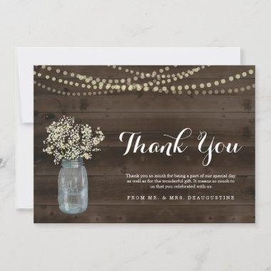 Personalized Rustic Wood & Fairy Lights Thank You Invitations