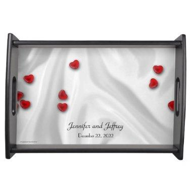 Personalized Serving Tray Silver with Red Hearts