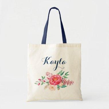 Personalized Tote Bag. Floral Tote Bag. Bridesmaid