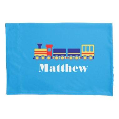 Personalized Toy Train with Name Boy's Pillow Case