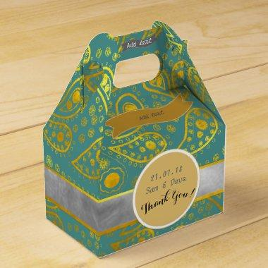 Personalized Turquoise Gold Paisley Gable Favor Box