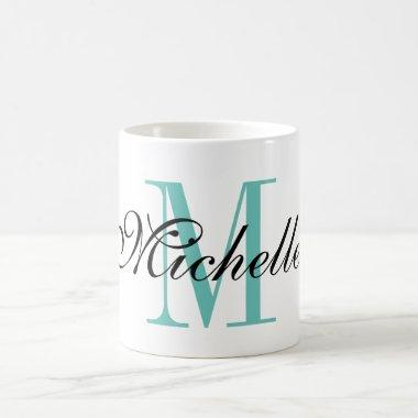 Personalized turquoise name monogram coffee mug