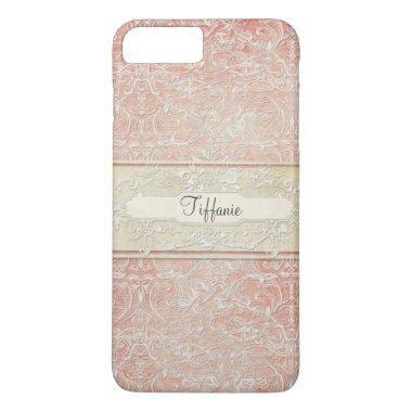 Personalized Vintage French Regency Lace Etched iPhone 7 Plus Case