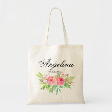 Personalized Watercolor Floral Bridesmaid Tote Bag