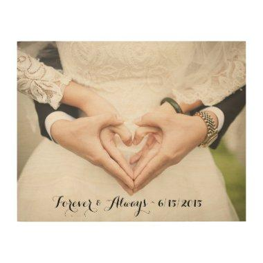 Personalized Wedding Photo Forever & Always Wood Wall Art