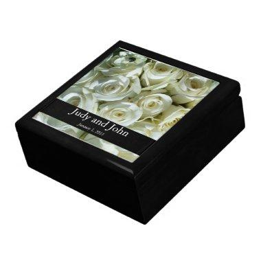 Personalized White Rose Bouquet Wedding Gift Box
