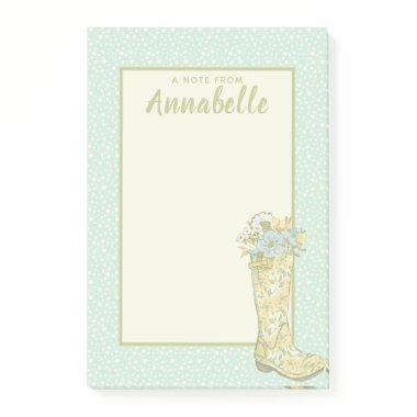 Personalized Yellow and Aqua Floral Rain Boot Post-it Notes