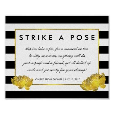 Photo Booth Poster Sign Black Stripe & Gold Peony
